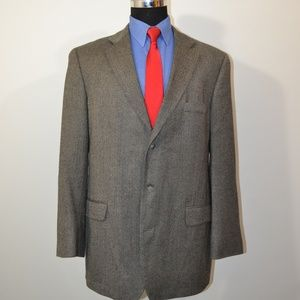 Stafford 44L Sport Coat Blazer Suit Jacket Gray Bl